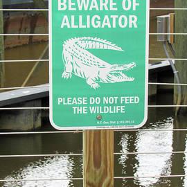 Wilmington North Carolina Alligator Warning Sign by Roberta Byram