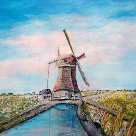 Windmill On A Waterway by Irving Starr