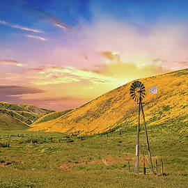Windmill Sunset on the Carrizo by Lynn Bauer