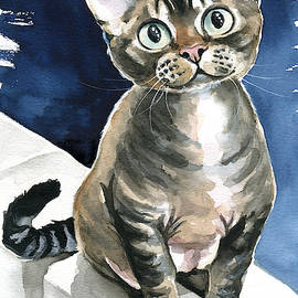 Winter Devon Rex Cat Painting by Dora Hathazi Mendes