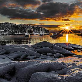 Marty Saccone - Winter Sunrise at Cutler Harbor Maine