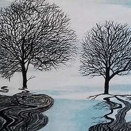 Winter Trees In Black by Jenny Maher