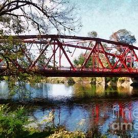 The old red bridge Ulster County  by Janine Riley