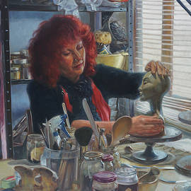 Woman Ceramicist At Work In Her Studio by Martin Davey