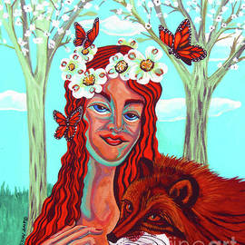 Woman With Red Fox And Butterflies