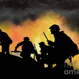 WWI Infantry Digital drawing  by Tim Wayland