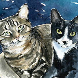 Xani and Zach Cat Painting by Dora Hathazi Mendes