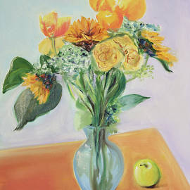 Yellow Bouquet with a Green Apple by Asha Carolyn Young