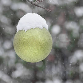 Yellow Christmas Ball Outside, Covered By Snow. Outside Snowy Wi by Cristina Stefan