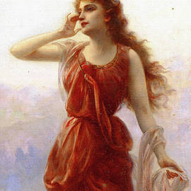 Young Woman in Red by Edouard Bisson
