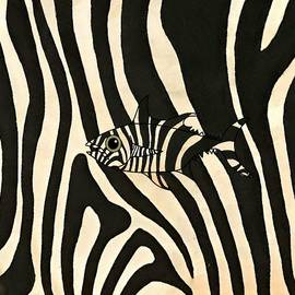 Black And White Striped Zebra Fish Blending In by Joan Stratton
