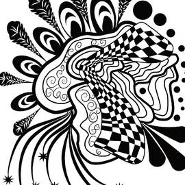 Zendoodle Black and White by Patricia Piotrak