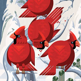 A radiance of Cardinals Poster by Garth Glazier