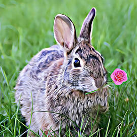 Bunny Rabbit A Rose For You by Robin Lee Mccarthy Photography