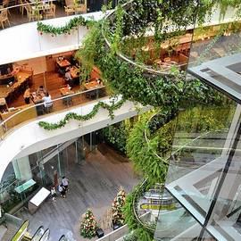 Green vertical interior design of Emquartier shopping mall dining floors Bangkok Thailand by Imran Ahmed