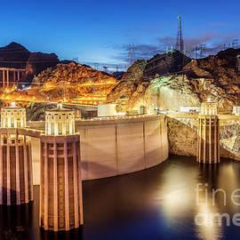 Hoover Dam at Night Near Las Vegas, Nevada by Bryan Mullennix