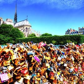Love Lock Bridge And Notre Dame de Paris  by Paul Thompson