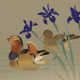 Mandarin Ducks and Irises by Spadecaller
