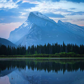 Mount Rundle mountain peaks in Banff Canada by Rick Deacon
