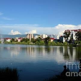 Nuri Geli lake May 6 park with buildings skyline and fountain central Batumi Georgia by Imran Ahmed
