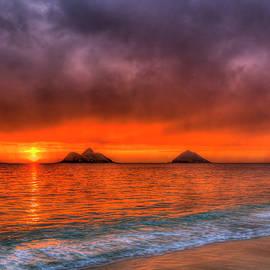 Oahu HI Lanikai Beach Red Sunrise 7 Mokulua Islands Seascape Art by Reid Callaway