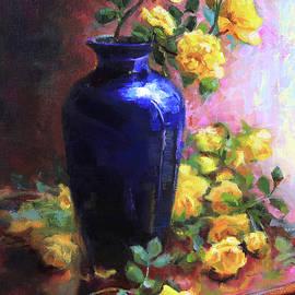 Persian Cobalt - yellow roses in cobalt vase by Talya Johnson