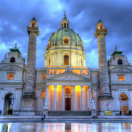 Saint Charles's Church at Karlsplatz in Vienna, Austria, HDR by Elenarts - Elena Duvernay photo