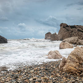 Seascapes with windy waves. Rock of Aphrodite Paphos Cyprus by Michalakis Ppalis