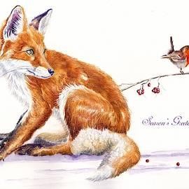 Red Fox - Season's Greetings by Debra Hall