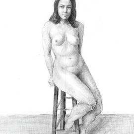 Sitting Nude by Tareq Razzouk