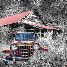 Smoky Mountain Barn  and Jeep in the Autumn Black and White by Debra and Dave Vanderlaan