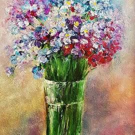 Still life with purple flowers by Amalia Suruceanu