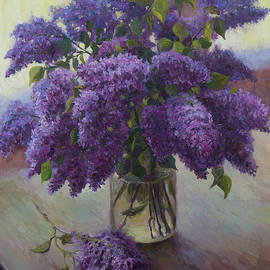 The Lush Bouquet Of Lilacs Near The Light Window. Original Spring Floral Still Life. Oil Painting by Nikolay Dmitriev