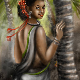 attractive Tribal girl in the jungle by Anjali Swami