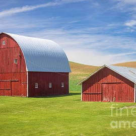 Two Red Barns by Inge Johnsson
