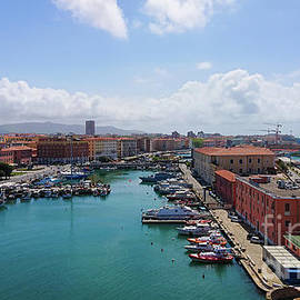 View to the Ligurian Sea in Livorno and Old fortress from above. by Beautiful Things