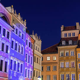 Warsaw Old Town At Night In Poland by Artur Bogacki