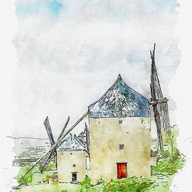 Aquarelle sketch art. Old windmill on the hill, sky with clouds. Consuegra, Spain by Beautiful Things
