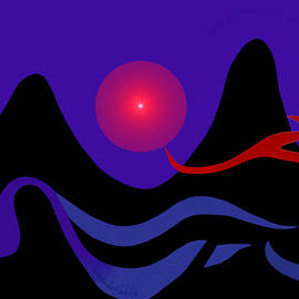 1536 - Red Mountain Sunset Digital Painting -  2017 by Irmgard Schoendorf Welch