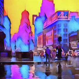 1940s Times Square Rain by Susan Maxwell Schmidt