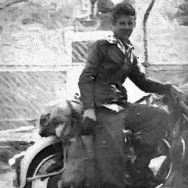 1940s Vintage Young Biker At Gundagai Dog Sits On The Tuckerbox by Joan Stratton