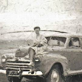 1950s Mornington Peninsular Beach Classic Car Surf Caster And Beauty On the Bonnet by Joan Stratton