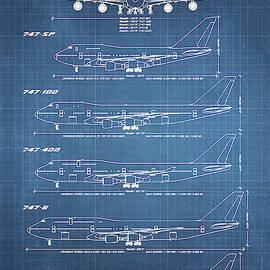 Boeing 747 Family Blueprint - light blue by Ryan Steven Horowitz