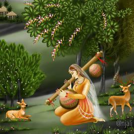 Radha playing Veena Indian musical art by Anjali Swami