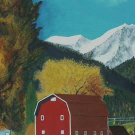 Red Barn in the Mountains by Lisa Hinshaw
