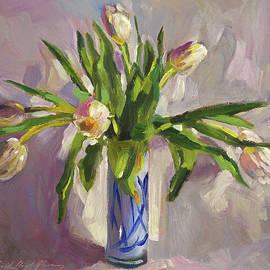 Tulips In Blue Glass by David Lloyd Glover