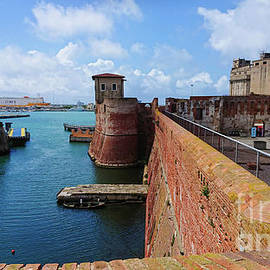 View to the Ligurian Sea in Livorno and Old fortress from above by Beautiful Things