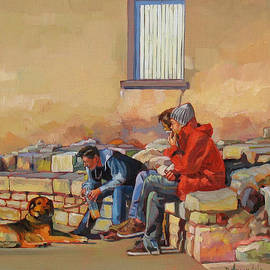 3 Guys With A Dog by Dominique Amendola