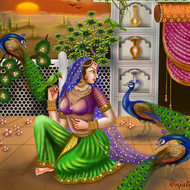 Radha and peacocks endless beauty Indian art by Anjali Swami