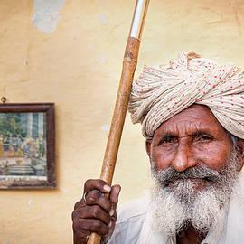 Portrait of an elderly Indian man, Jaisalmer, Rajasthan, India by Kim Petersen